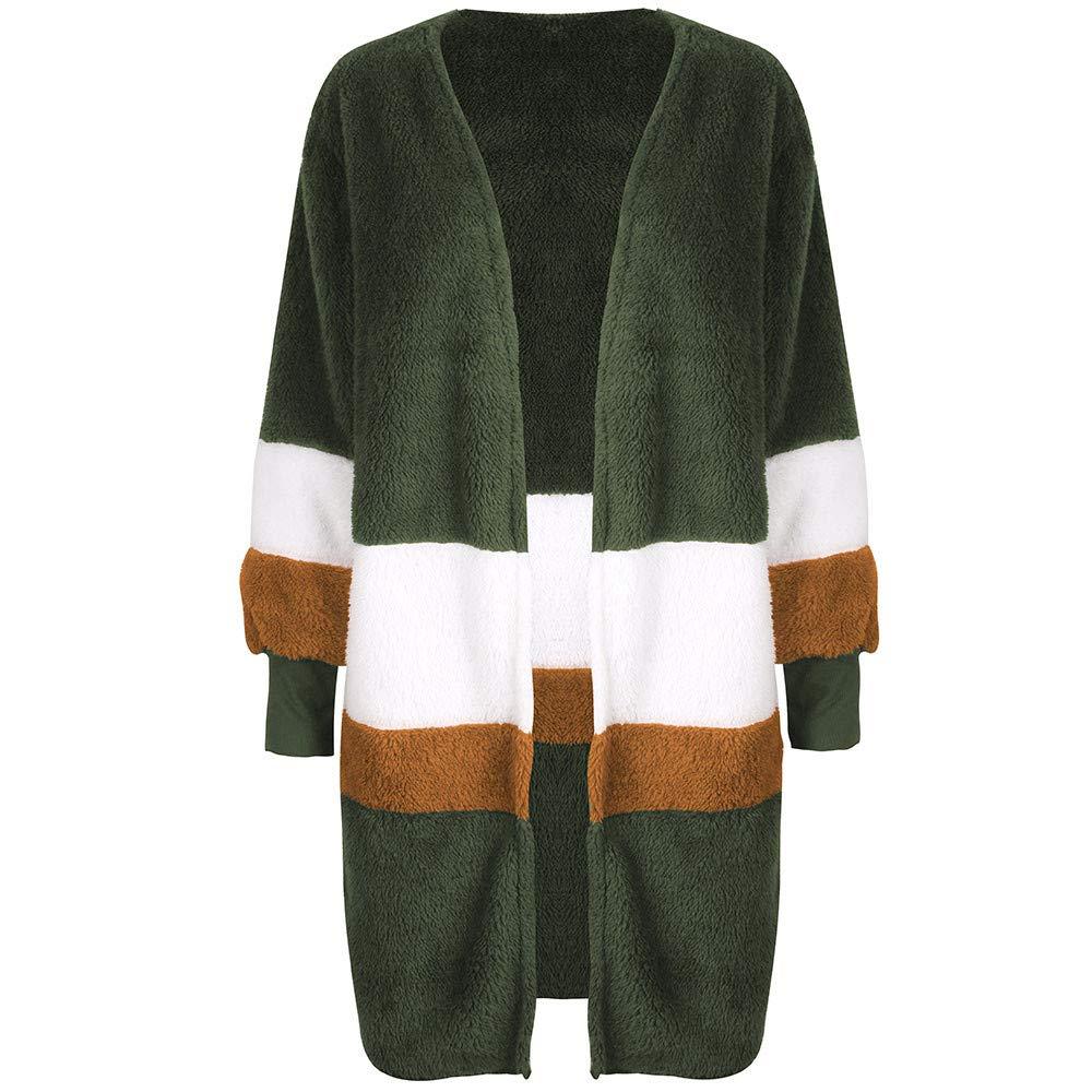 Winter Arctic Velvet Cardigan Women's Long Sleeve Long Sweater Round Neck Stitching Jacket