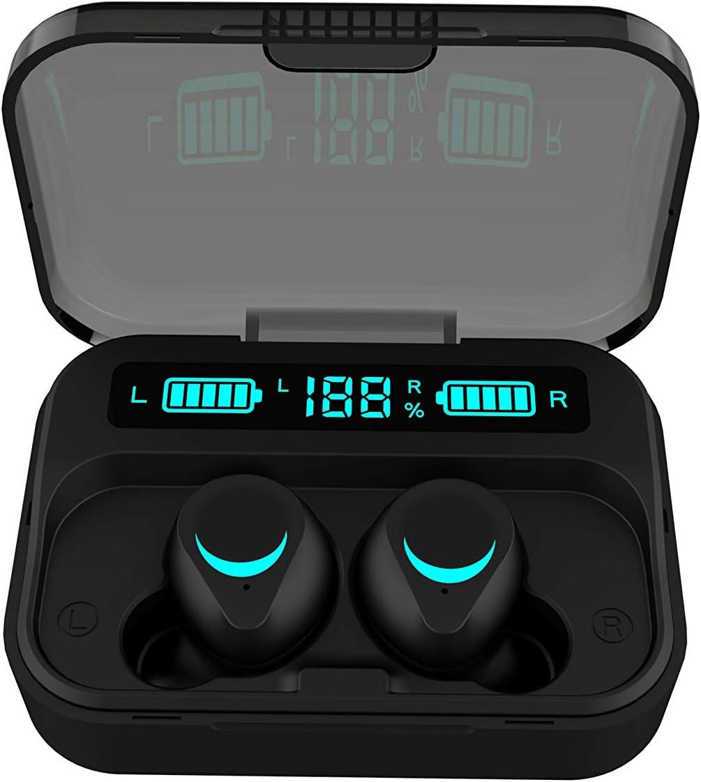 Abeyete Cuffie Bluetooth 5.0 Connessione automatica Mini Auricolari Bluetooth Cuffie Senza Fili Sportivi in Ear Wireless Cuffia Stereo Invisibile Cancellazione del Rumore con microfono per iOS Android