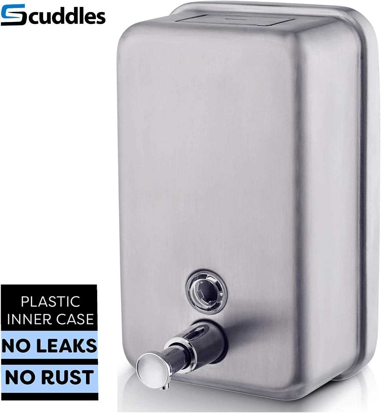Scuddles Manual Soap Dispenser Kitchen Bathroom Wall Mounted Soap Dispenser Stainless Steel Commercial Soap Dispenser for Liquid Containers Shampoo Gel Chamber Plastic - (40.5 oz) 1200ml