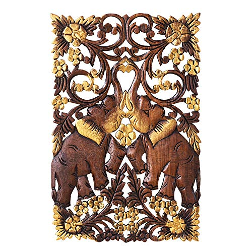 (DDSS Home Decoration Wall Hangings, Thai Double Elephant Wall Decoration Carved Crafts, Southeast Asian Handmade Wood Carving Pendant Teak Wall Hangings Size: 45x29x1.5cm /-/)