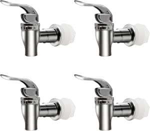 MUGLIO Silver Replacement Spigot for Beverage Dispenser Carafe Push Style Lever Pour Spout(4 Pack)