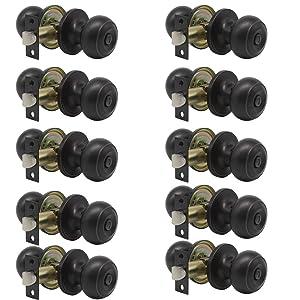 10 pack Probrico Interior Bathroom Privacy Keyless Doorknobs Door Lock Lockset 609-ORB-BK in Oil Rubbed Bronze