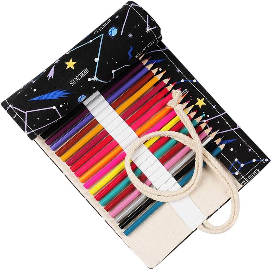 IWILCS Lápiz de lienzo de 48 agujeros, lápiz de constelación, bolsa de organizador de lápiz, lápices enrollables, estuche de lápices, organizador de rollo de soporte de lápices de colores