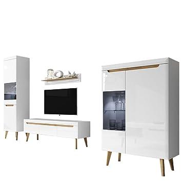 Mirjan24 Wohnzimmer Nordi II, Elegantes Wohnzimmer Set Im Skandinavischen  Stil, TV Lowboard,