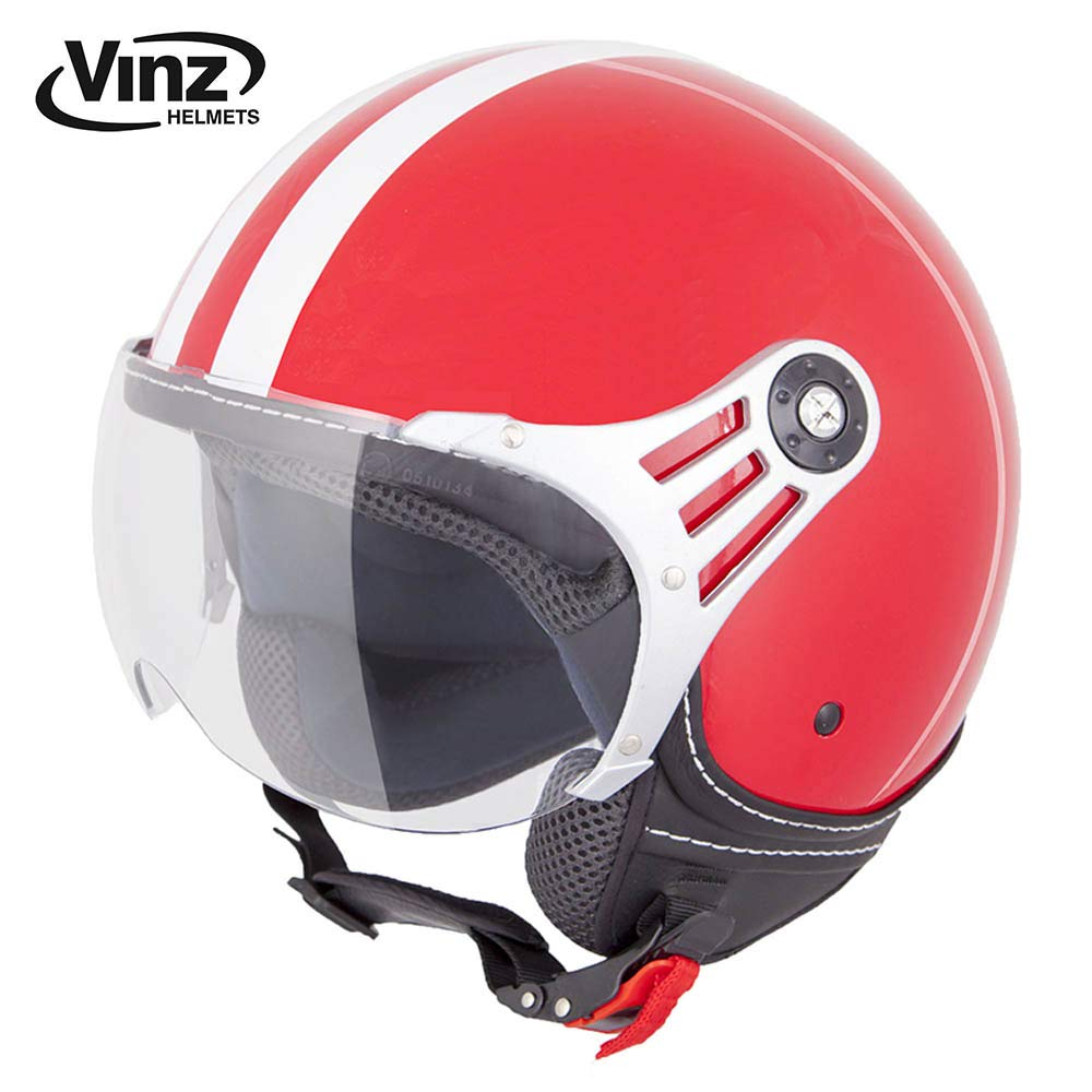 M, Schwarz ECE zertifiziert Vinz Rollerhelm Jethelm Fashionhelm Roller Jet Helm mit Streifen in Gr Motorradhelm mit Visier XS-XL