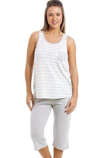 Camille Conjunto de pijama con pantalón pirata - Estampado a rayas - Gris y blanco: Amazon.es: Ropa y accesorios