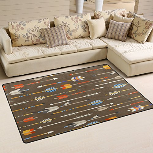 Arrow Rug (Sunlome Ethnic Indian Arrows in Native Style Pattern Area Rug Rugs Non-Slip Indoor Outdoor Floor Mat Doormats for Home Decor 60 x 39 inches)