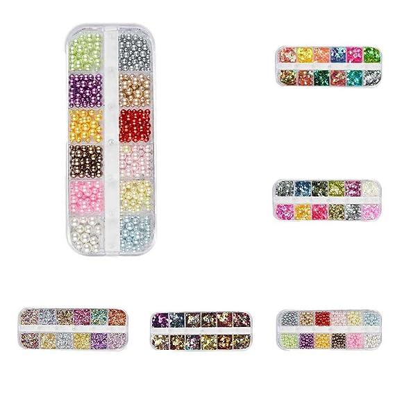 Aiming 12 cuadrículas del Brillo del Clavo de Lentejuelas Mixta de uñas Ronda/Estrella Luna/Perla DIY Etiqueta engomada del Arte Decoración de la escama: ...