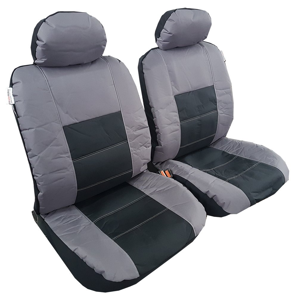 Heavy Duty Universal Auto Carseats Protector ITAILORMAKER Waterproof Grey Canvas Seat Covers for Cars Trucks Airbag Compatible Front Bucket Seats 4PCS Set