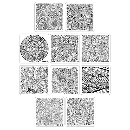 Bundle Monster 10pc Nail Art Polish Stamping Plates - Paisley Flow Collection