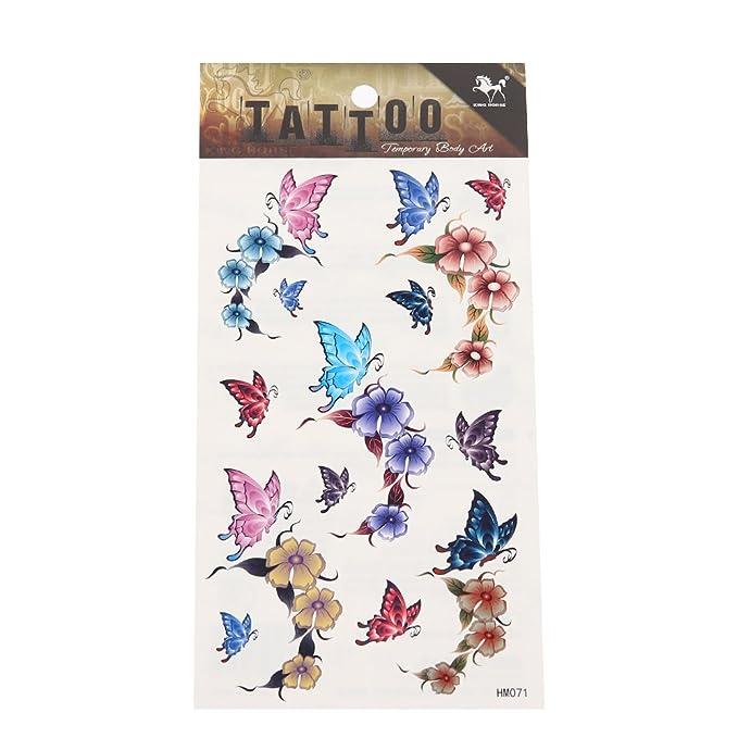Tattoo Schmetterlinge Welke Bluten Blumen Blatter Bunt Pastell 18
