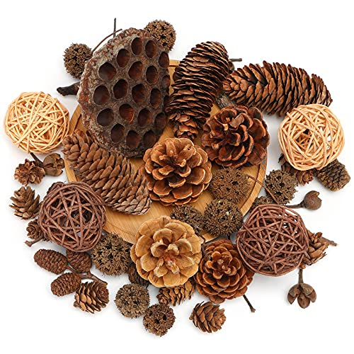 DomeStar 38PCS Pine Cone Set, Artificial Acorns Berry Craft and Natural Pinecones Ornament Pine Picks Fake Fruit Decor Fall Decorating Kit