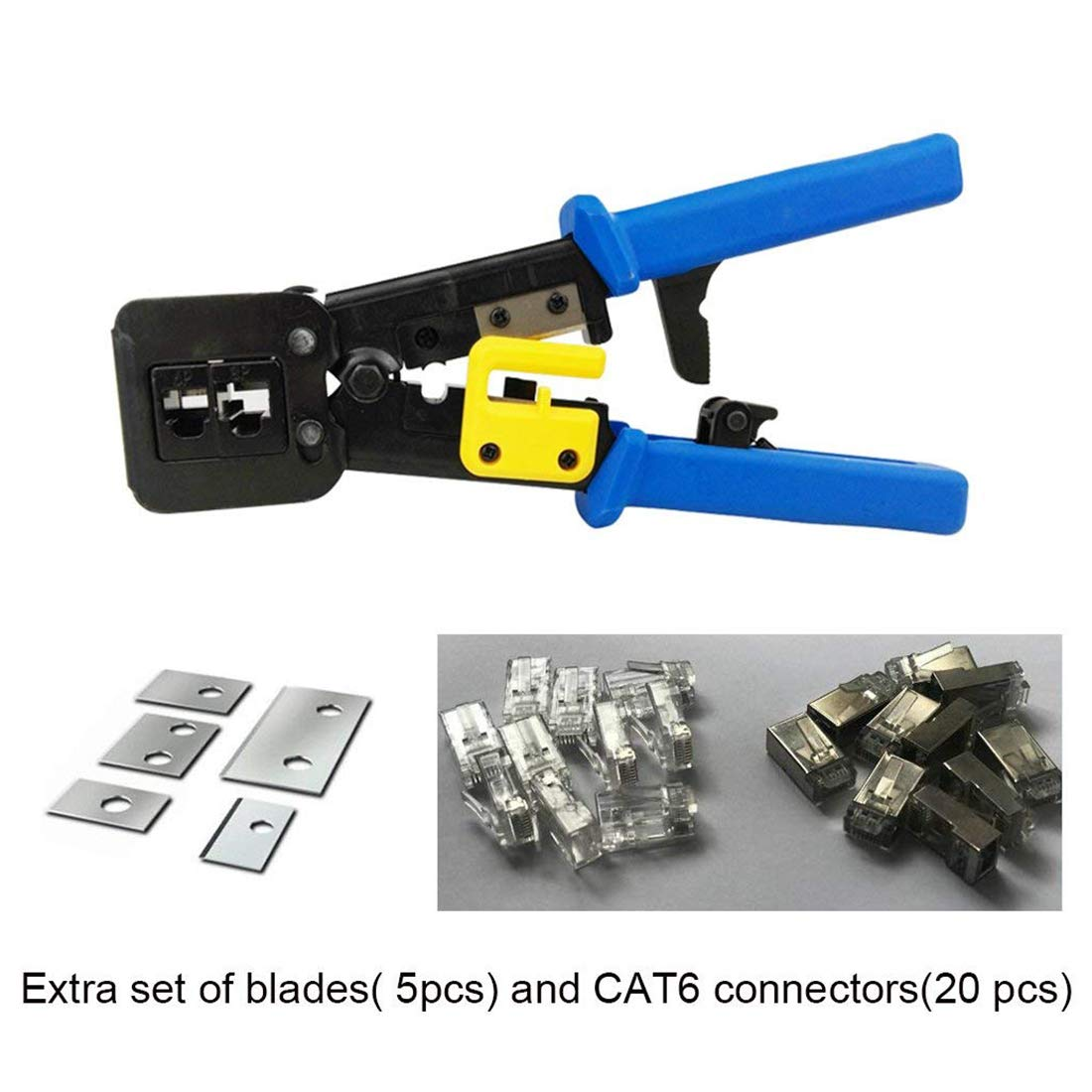 RJ45 Crimp Tool 6P 8P Multi-function Cable Cutter Pass Through Crimper Ethernet Cable Connector Crimping Tool Ratcheting Hand Tools Bonus CAT6 Connector 20 Pack by Ewans (Image #2)
