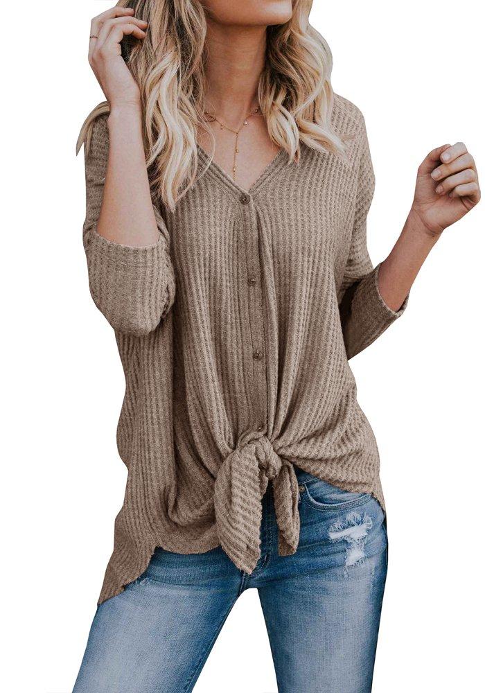 Remikstyt Womens Henley Shirts V Neck Knot Knit Plain Pullover Irregular Long Sleeve Tops
