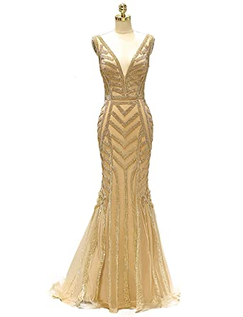 PROMNOVAS Beaded Gold Prom Dresses Mermaid Long Evening Dresses