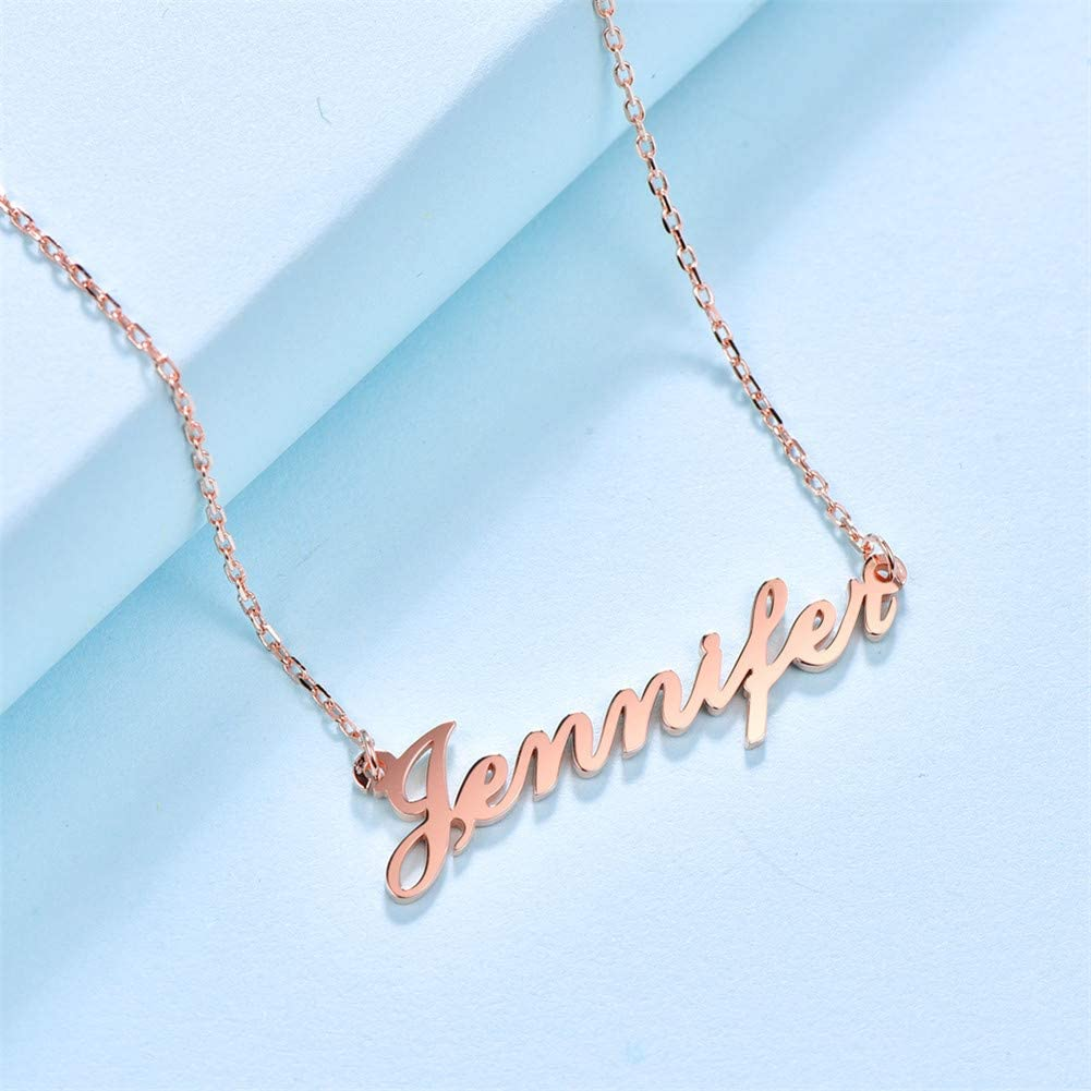 Laifan Personalised Name Necklace Customised 925 Sterling Silver Pendant Necklaces for Men//Women