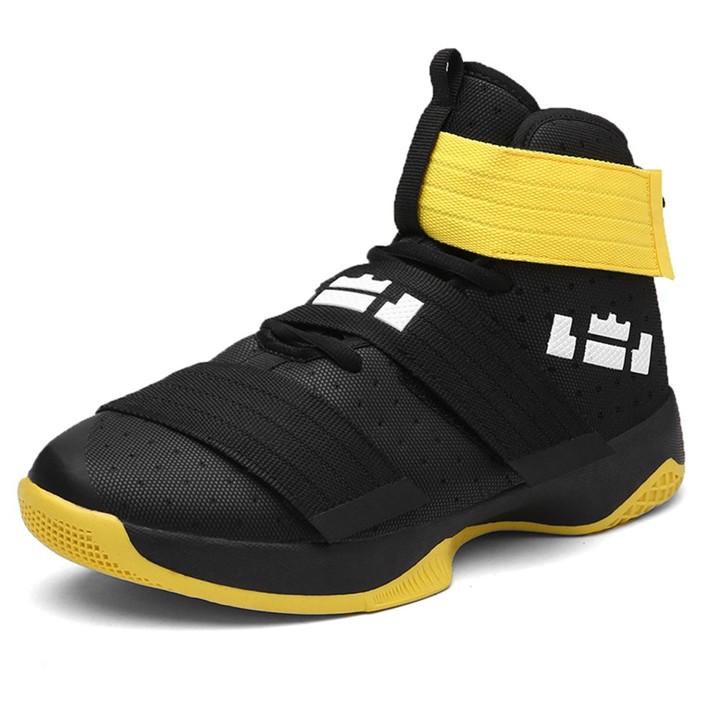 YOKOT Unisex Basketball Sports Shoes Athletic Velcro Rubber Walking Outdoor Sneakers B079DS9FNC US 7.5|Yellow