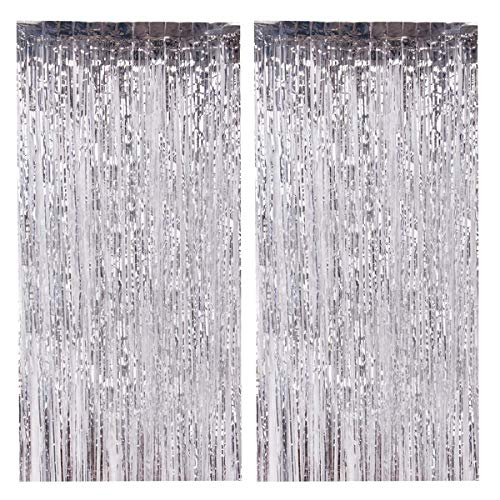 (DODOING 2Pcs 3.2 ft x 9.8 ft Silver Metallic Foil Fringe Curtains for Party Photo Booth Backdrop for Wedding Birthday Party Stage Bachelorette Sweet 16 Christmas Decor)