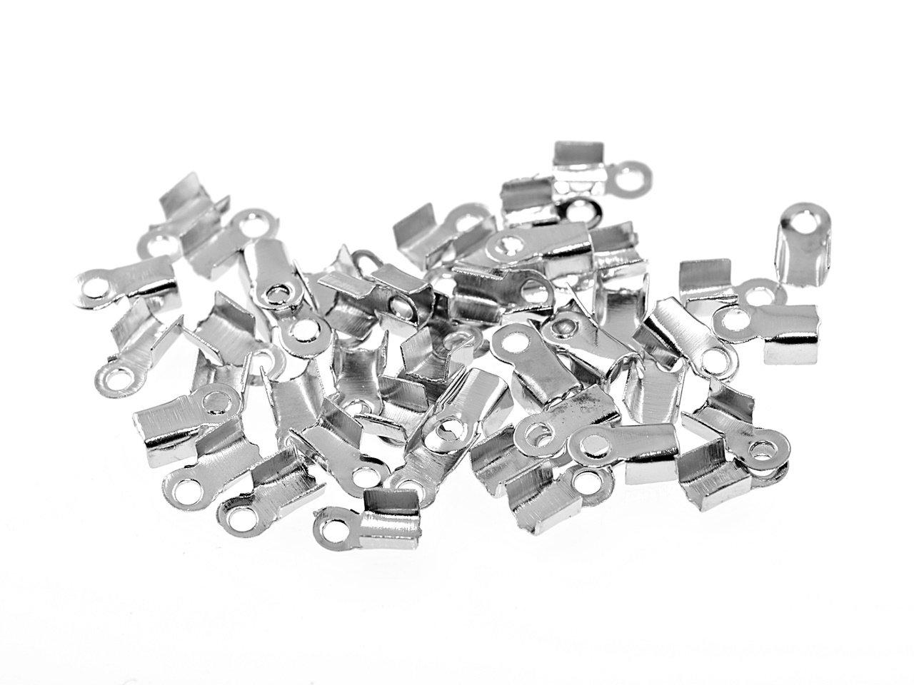 10 Endkappen für 5 mm Bänder in silberfarben platiniert
