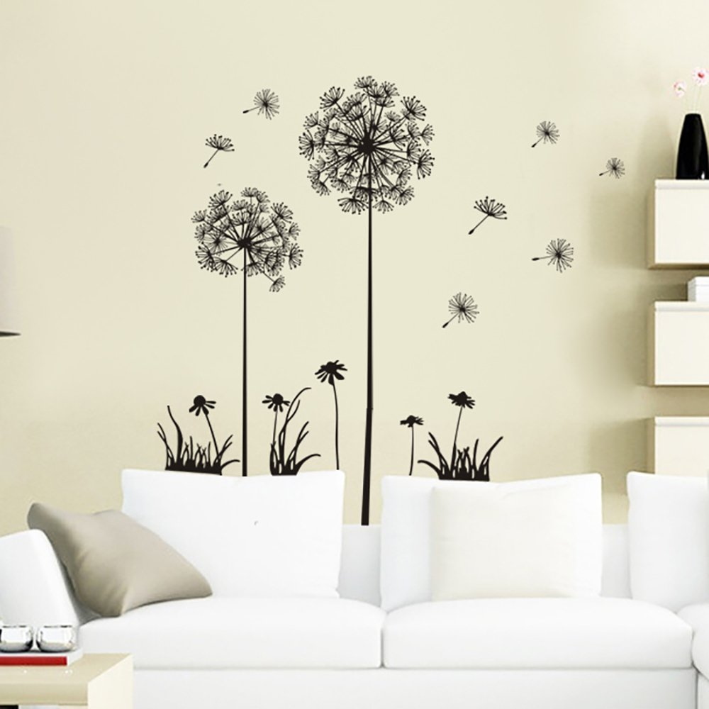 Black Creative PVC Dandelion Flower Planting Tree Large Removable Home Wall Decal DierCosy