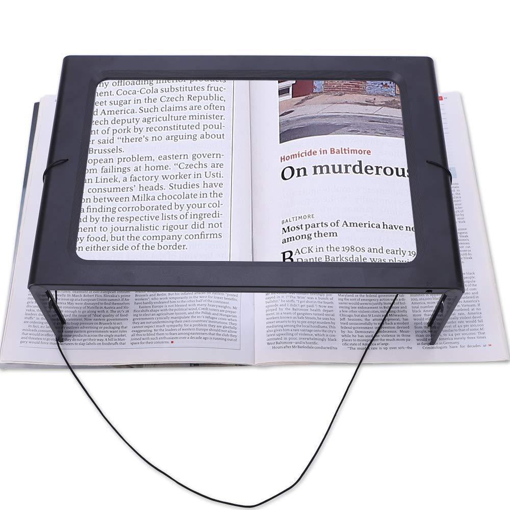 Magnifying Glass Hands-Free Large Rectangular Full-Page Magnifier LED Lighted Illuminated Foldable 3X Desktop Portable for Elder Kids
