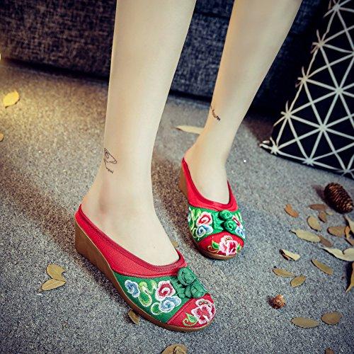 Avacostume Da Donna Stile Etnico Ricamo Multicolor Punta Tonda Pantofola Rossa