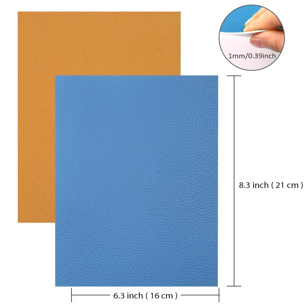 Sntieecr 36 Pieces Assorted Colors PU Leather Fabric Sheets, Litchi Fabric Cotton Back 8.3'' x 6.3'' (21cm x 16cm) for Making Bags, Hair Bow, Craft Sewing by Sntieecr (Image #4)