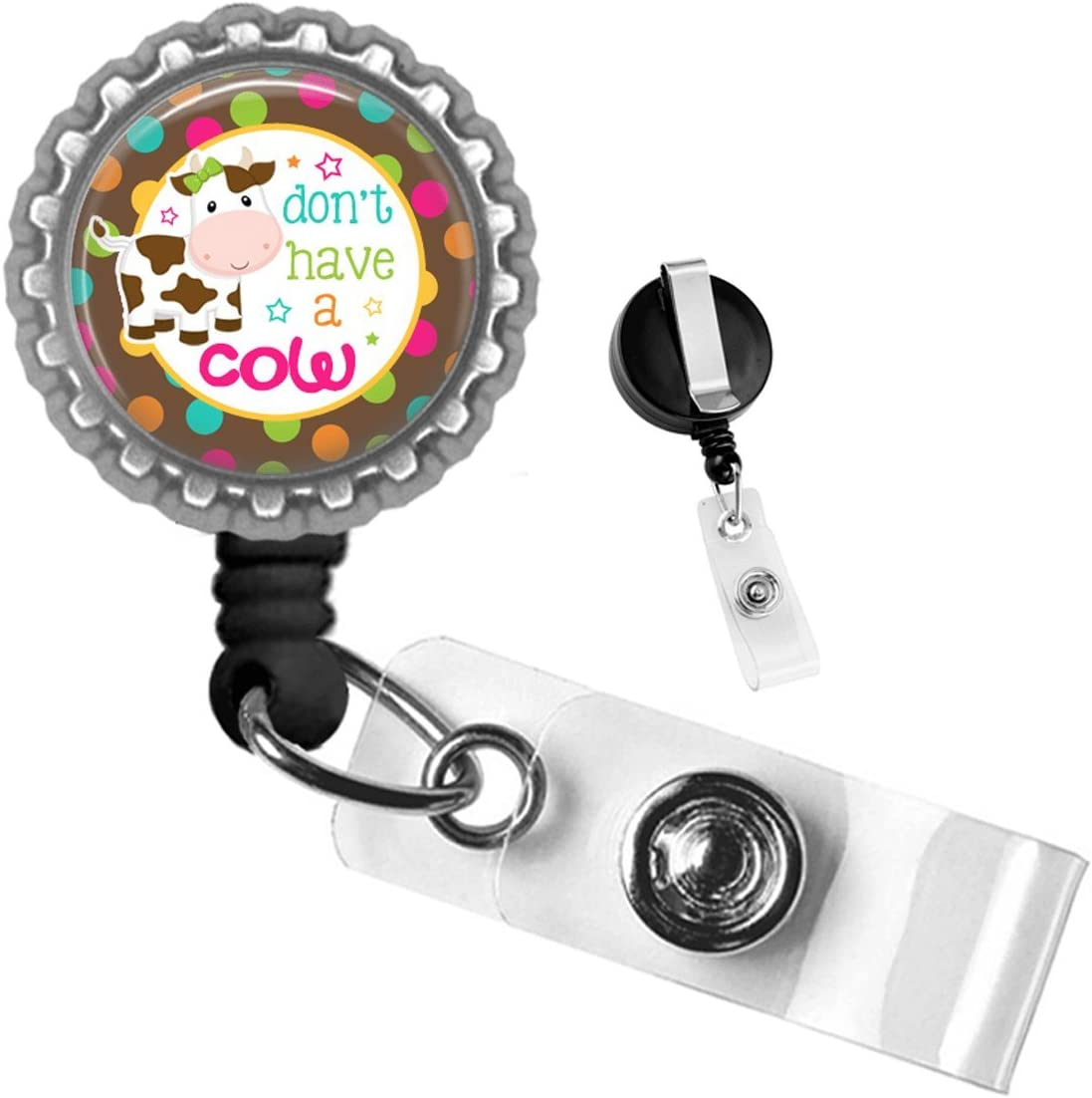 Farm Don't Have a Cow Polka Dot Silver Retractable ID Tag Badge Reel by Geek Badges