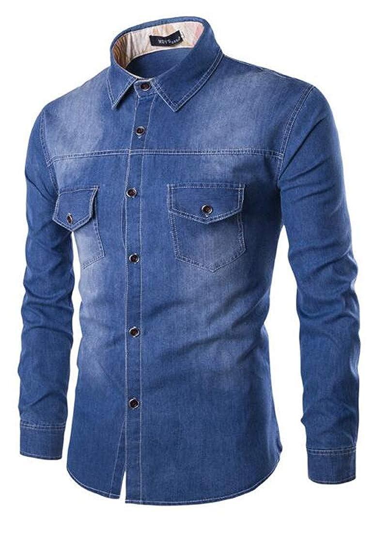 Domple Men Long Sleeve Button Up Plus Size Cotton Pockets Washed Denim Shirt