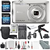 Nikon COOLPIX A300 Digital Camera W/ Deluxe Bundle, 2x 32GB, TableTop/ Handgrip Tripod + Battery + Charger + Case + SD Reader/Writer + Xpix Cleaning Accessories