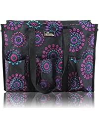 Zip-Top Organizing Utility Tote Bag with Multiple Exterior & Interior Pockets for Working Women, Nurses, Teachers and Soccer Moms (Purple Circle)