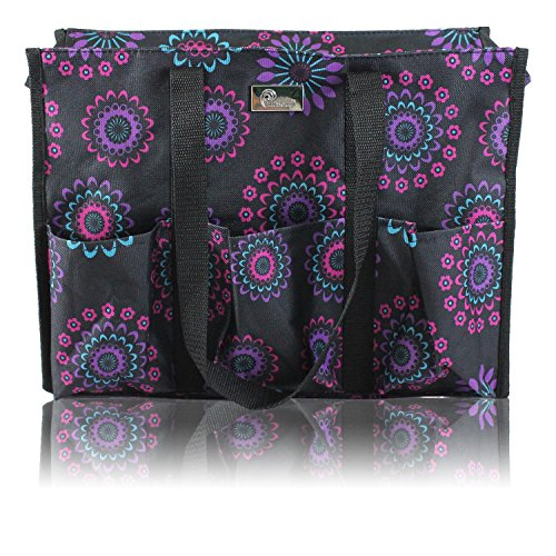 Pursetti Zip-Top Organizing Utility Tote Bag with Multiple Exterior & Interior Pockets for Working Women, Nurses, Teachers and Soccer Moms (Purple Circle) (Zip Tote Easy)