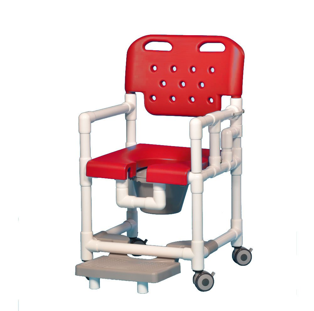 Elite Shower Chair Commode with Footrest and Left Drop Arm ELT817 P FRLDA (Red)