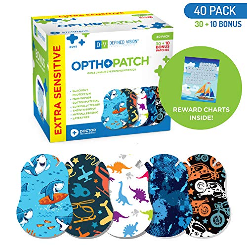OPTHOPATCH Kids Eye Patches - Fun Boys Design - 30 + 10 Bonus Latex Free Hypoallergenic Cotton Extra Sensitive Adhesive Bandages for Amblyopia & Cross Eye-3 Reward Chart Posters by - Kids Patch Eye