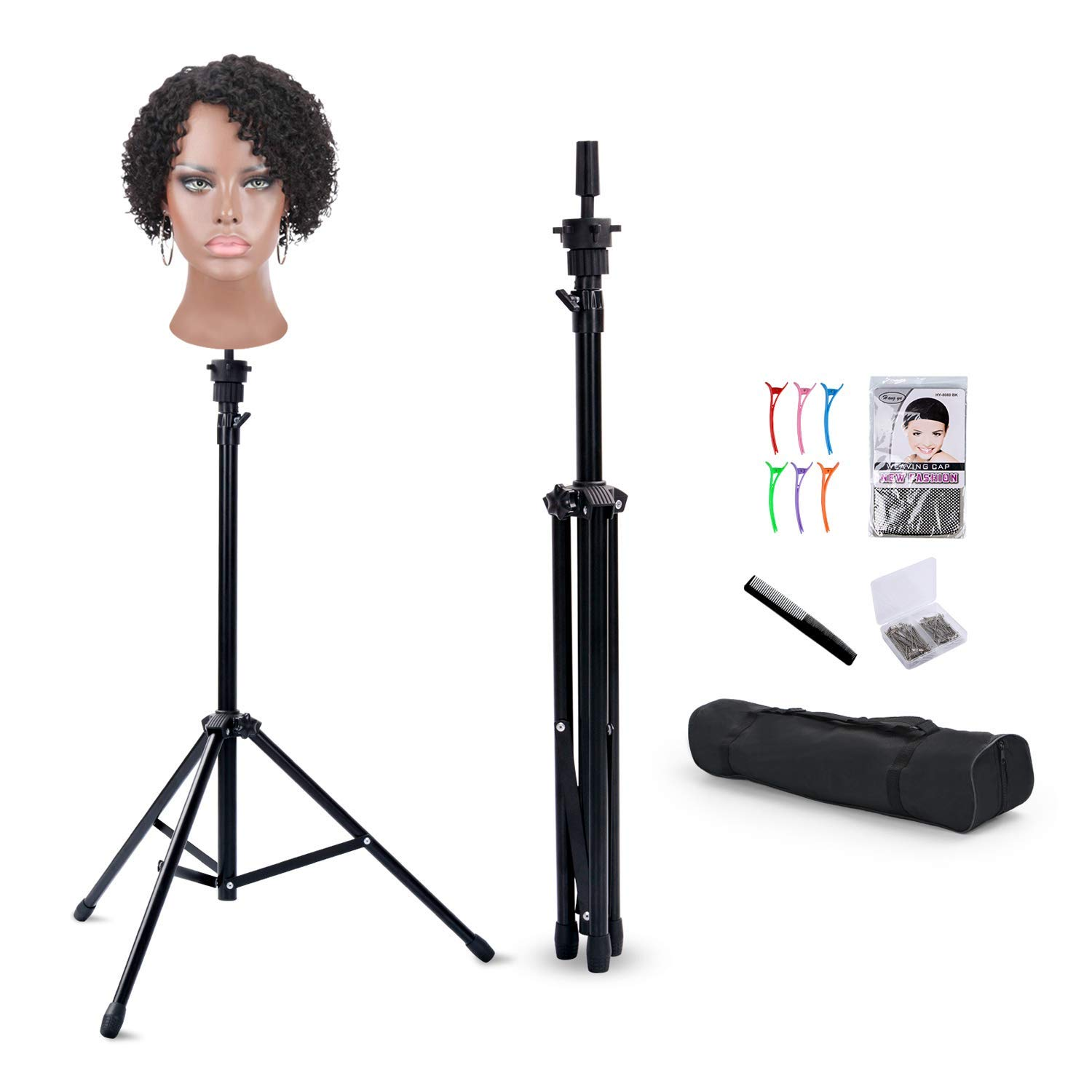 Reinforced Wig Stand Tripod Mannequin Head Stand, Adjustable Wig Head Stand Holder for Cosmetology Hairdressing Training with T-with Wig Caps, T-Pins, Comb, Hair Clip, Carrying Bag by T-SIGN