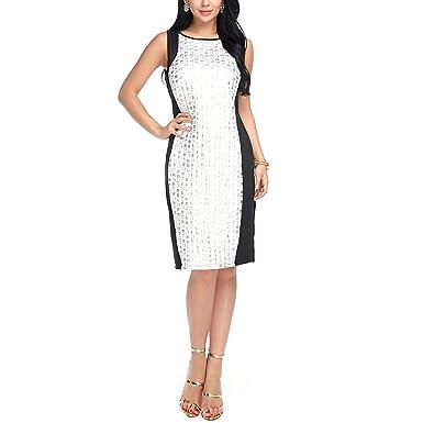 44d292ce04074 FLORHO Women Sleeveless Stripe Sheath Dress Formal Office Wear Applique  Dresses - White - X-