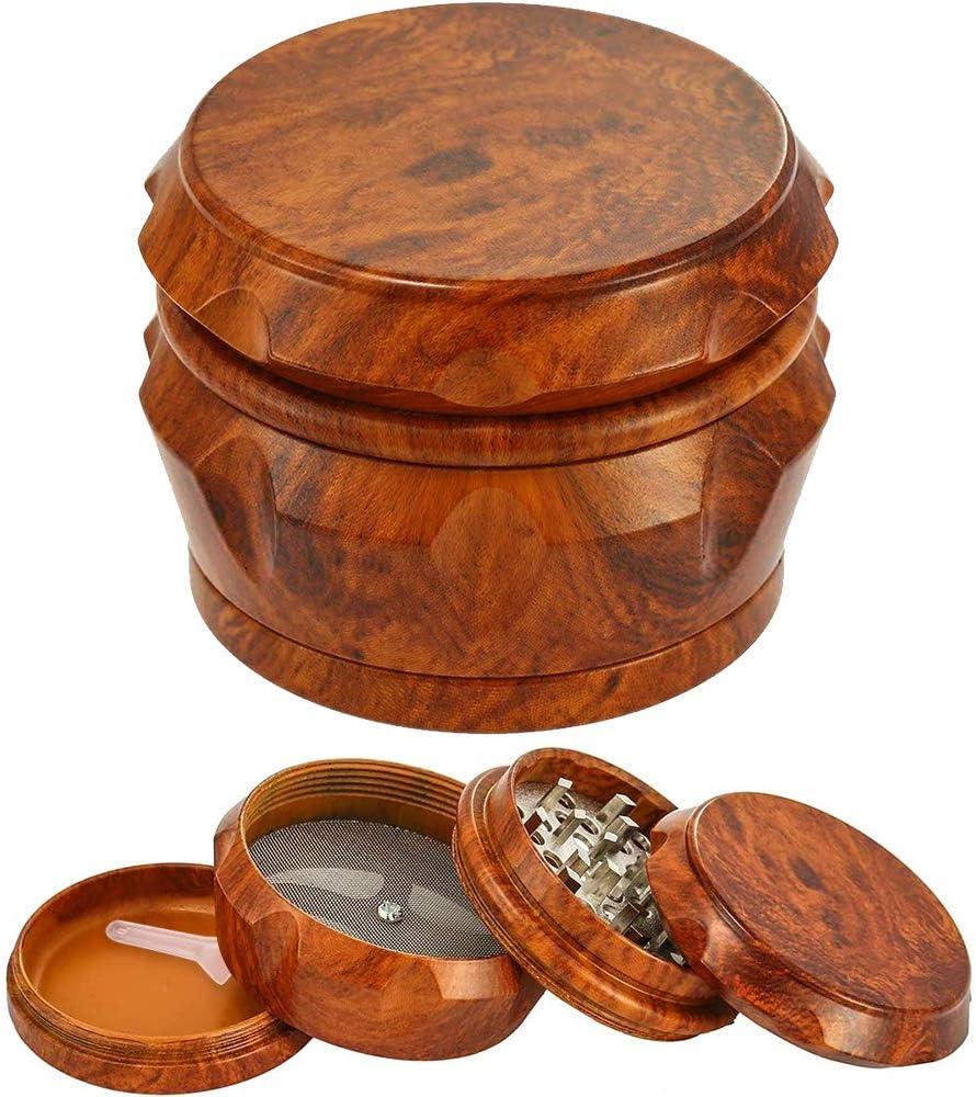 BLOCE 2.5 Herb Grinder 4 Piece Wooden Premium Herb Grinder with Pollen Catcher Dark Resin Grinder with Powder Separator