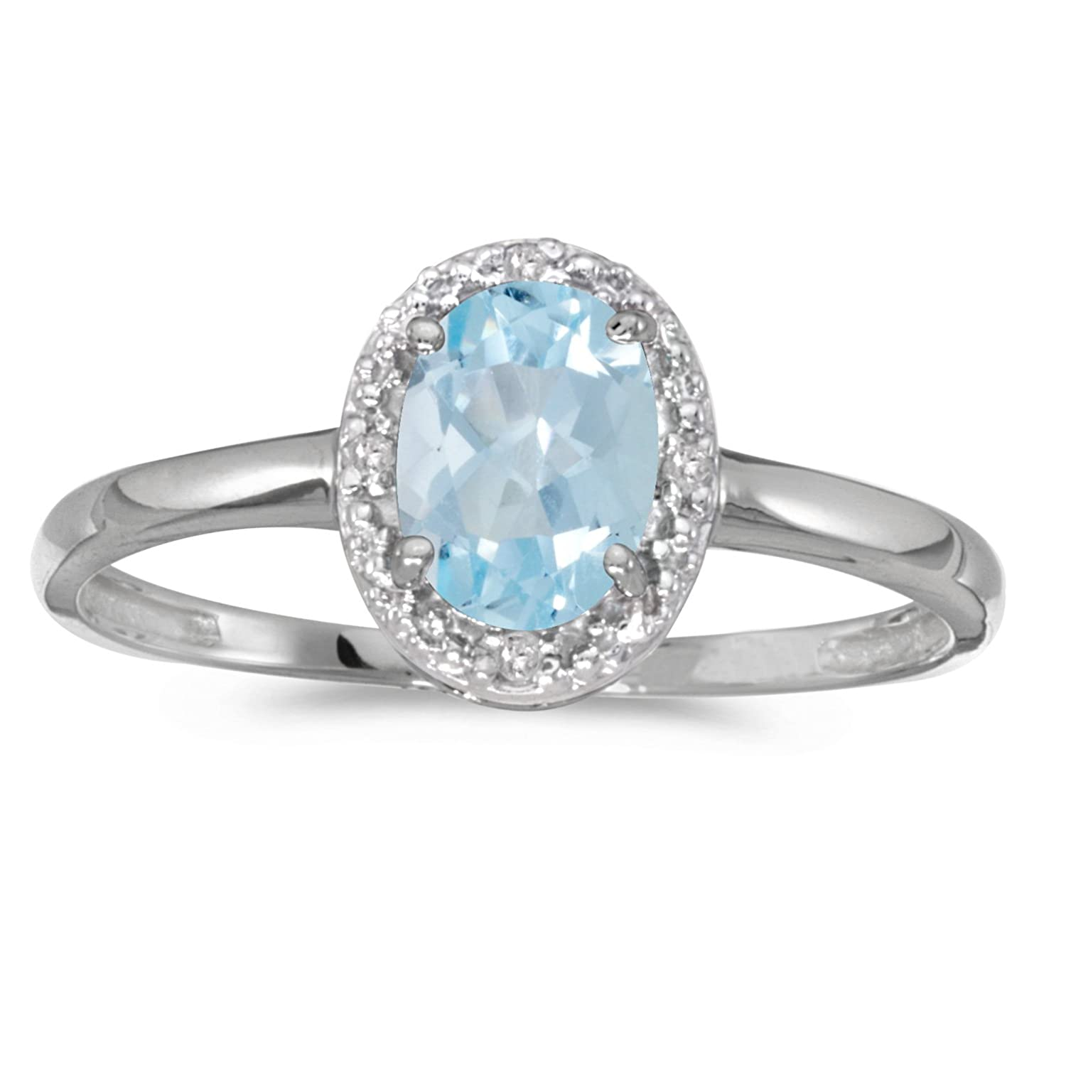 Amazon 10k White Gold Oval Aquamarine And Diamond Ring Jewelry