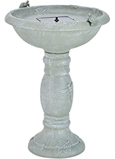 smart solar 20622r01 country gardens solar birdbath fountain gray weathered stone finish designed for