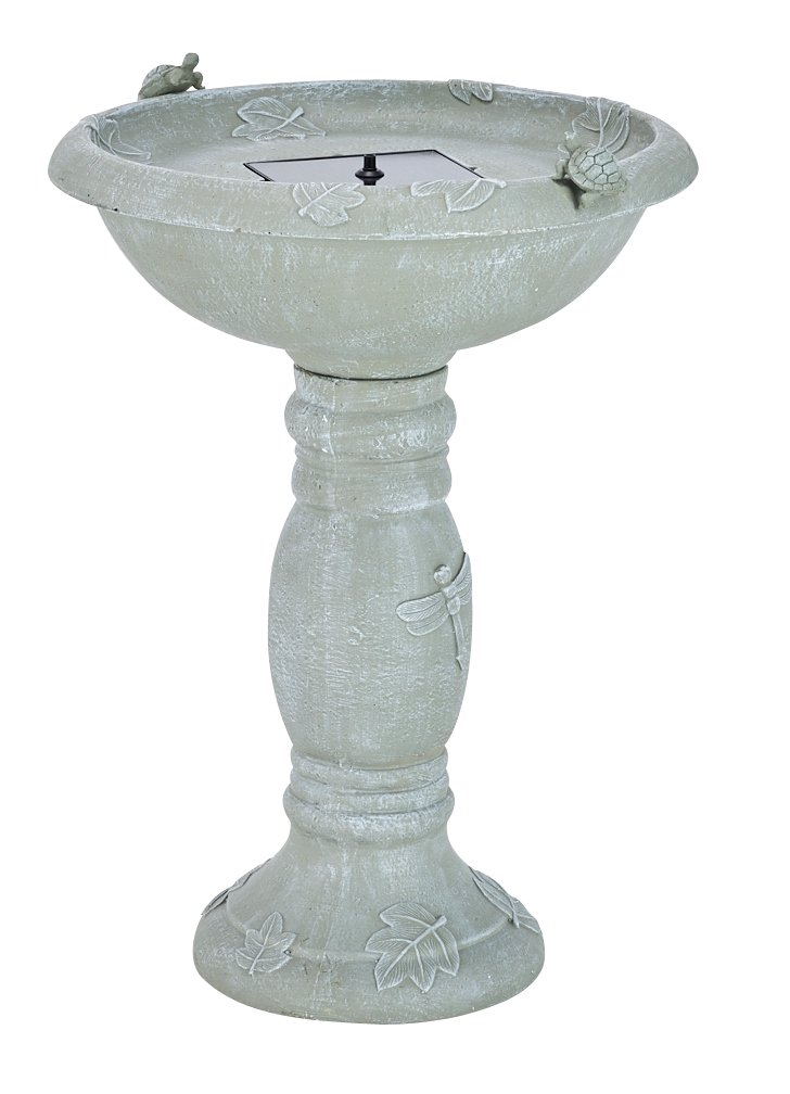 Smart Solar 20622R01 Country Gardens Solar Birdbath Fountain, Gray Weathered Stone Finish, Designed For Low Maintenance and Requires No Wiring or Operating Costs Smart Living