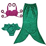 JFEELE Toddler Mermaid Swimsuit for Baby Girls 2 Piece Bikini Set with Swimming Mermaid Tail Bathing Suit - 2T,Green with Rose