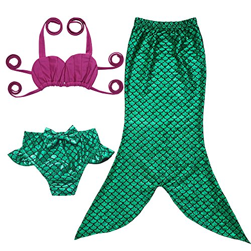 JFEELE Toddler Mermaid Swimsuit for Baby Girls 2 Piece Bikini Set with Swimming Mermaid Tail Bathing Suit - 2T,Green with Rose -