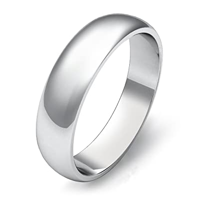 925 Sterling Silver UK Hallmarked White Gold Plated D Shape Court Unisex  Ladies Mens Wedding Ring Band 4mm 5mm 6mm  Amazon.co.uk  Jewellery 78402ef76