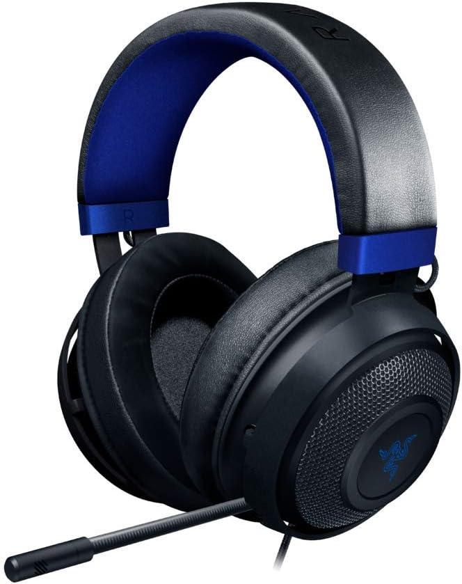 Razer Kraken para Consolas Auriculares Gaming con Cable, Compatible con PC, PS4, Xbox One, Nintendo Switch con controlador de 50 mm, micrófono retráctil y almohadillas de gel, Color Azul y Negro
