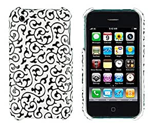 Black Embossed Vines Case for Apple iPhone 3G, 3GS - Includes 24/7 Cases Microfiber Cleaning Cloth [Retail Packaging by Sunshine Case]