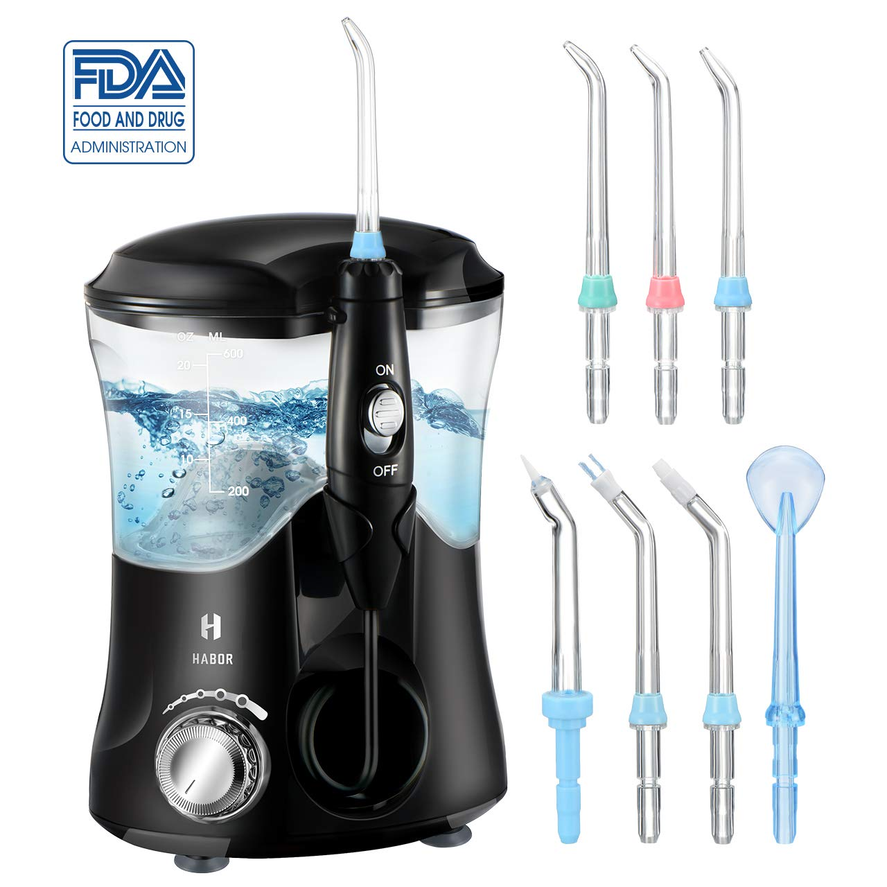 Habor Upgraded Water Flosser, FDA 600ML Water Dental Flosser with 7 Multifunction Tips for Family Use, Leak Proof Oral Irrigator with 10 Pressure Settings for Braces Teeth Care