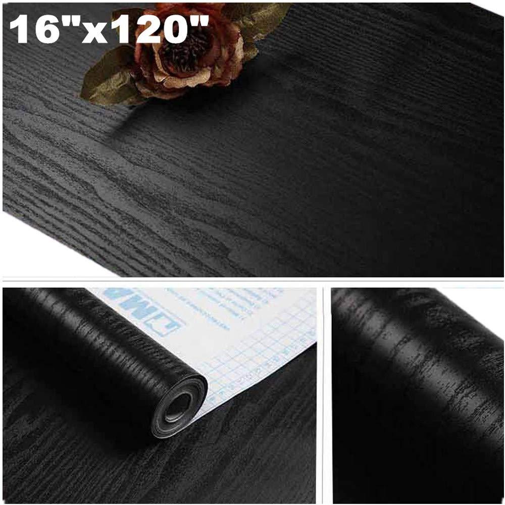 "Yancorp Matte Black Grain Wood Textured Contact Paper Vinyl Film Self-Adhesive Wallpaper Shelf Liner Drawer Plywood Peel-Stick Countertop Sticker (16"" x10ft, Black Wood)"