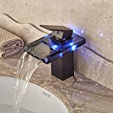 Sukmw Led Color Changing Oil Rubbed Broze Glass Spout Basin Tap Bathroom Sink Faucet Hot&Cold Faucet