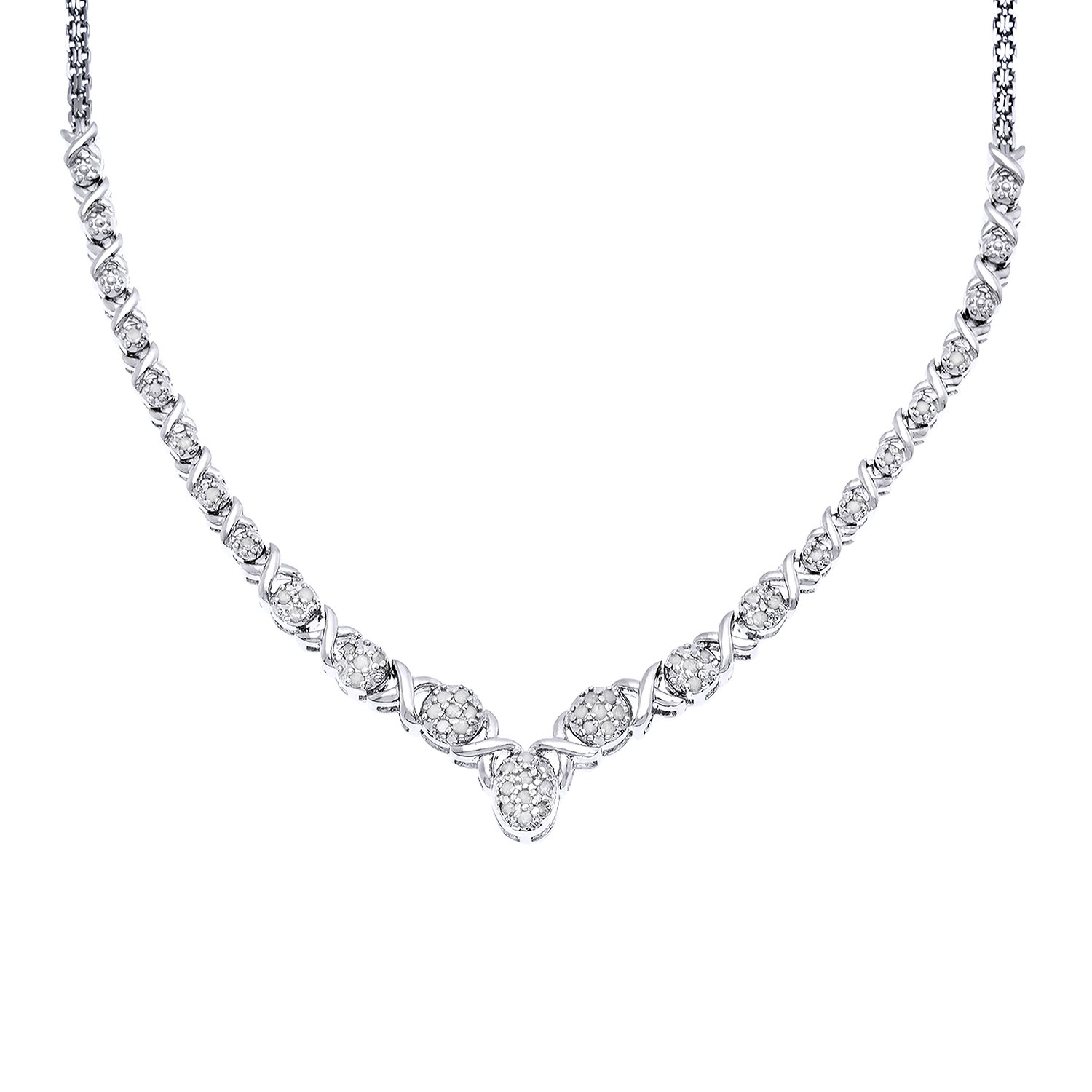 JewelExclusive Sterling Silver 1/2cttw Natural Round-Cut Diamond (J-K Color, I2-I3 Clarity) Oval X/O Necklace, 17''