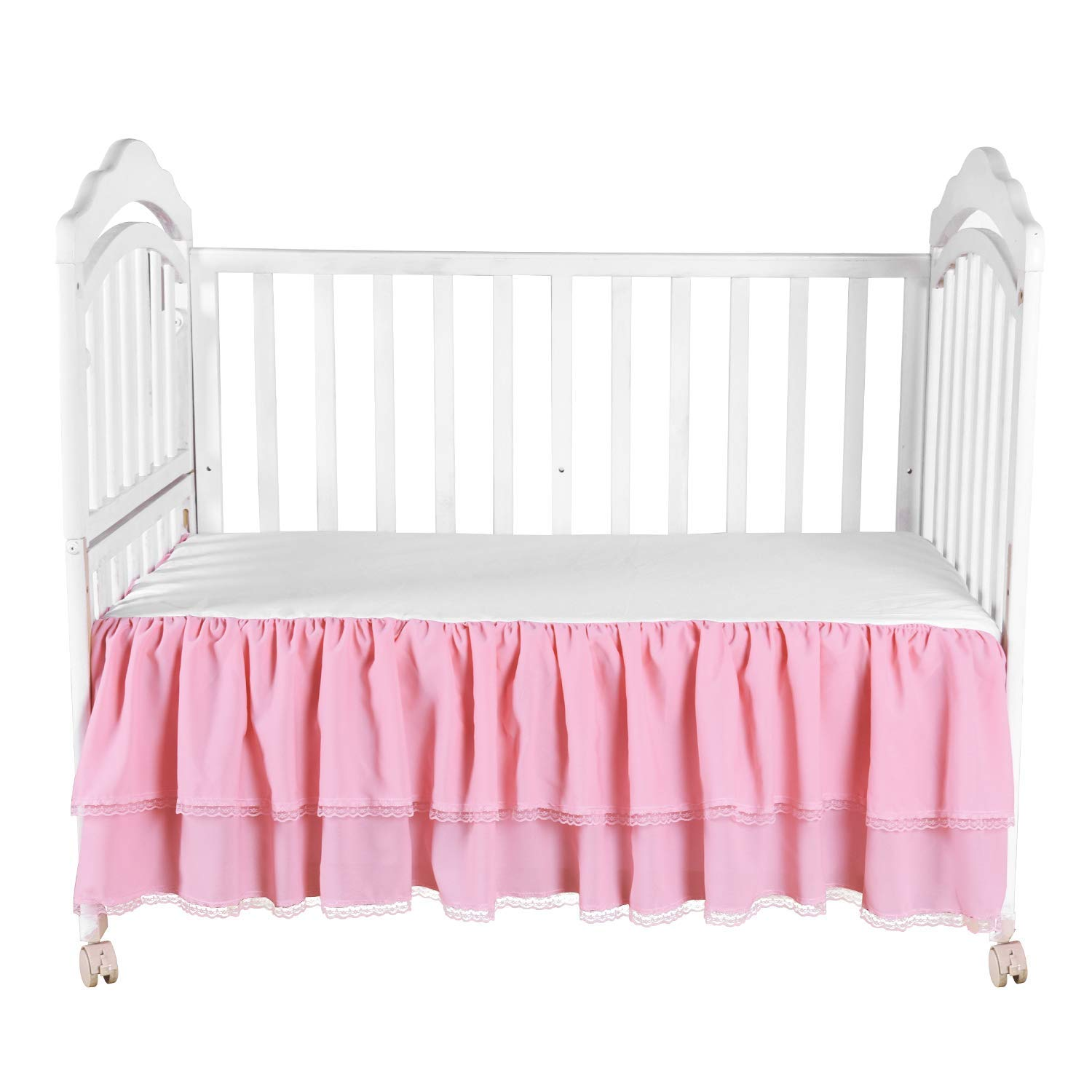 Pink Ruffle Crib Skirt with Lace Trim Nursery Crib Bed Skirt for Baby Boys and Girls 52 by 28 by 15 Inches HB HBB MAGIC CT060201A
